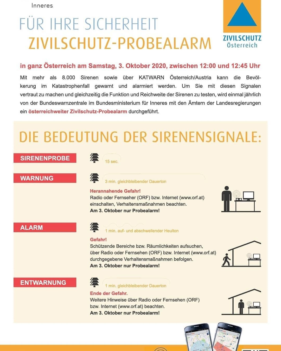 Zivilschutz-Probealarm am 3.10.2020